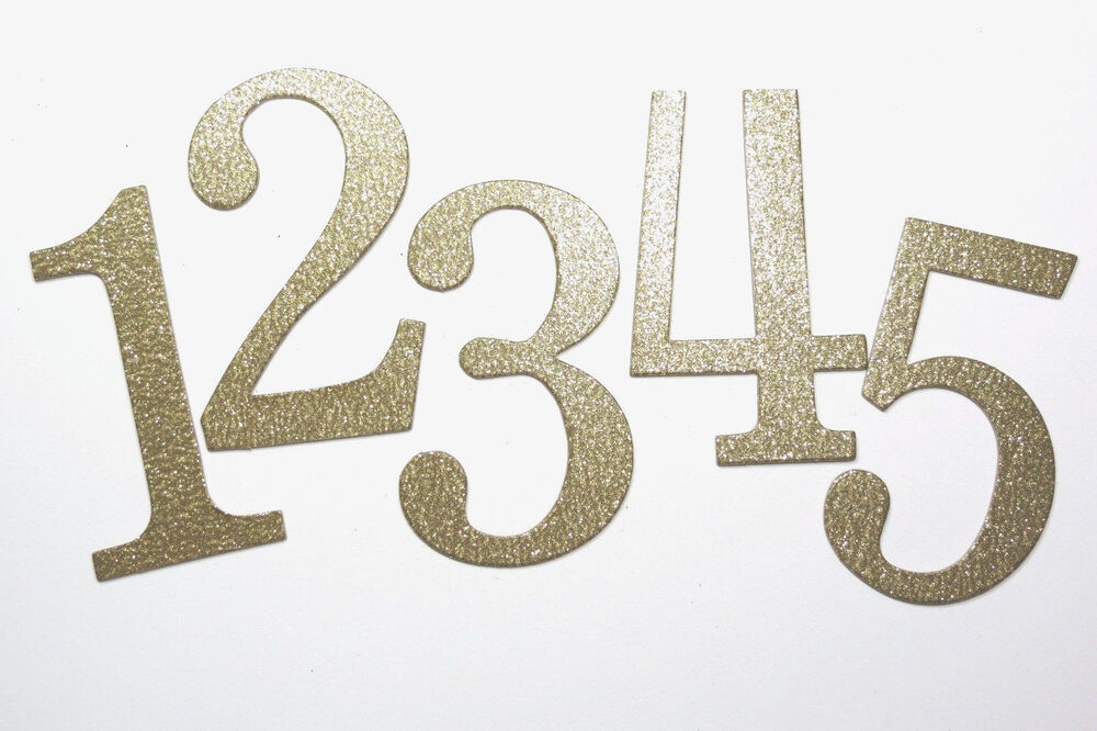 """4"""" Gold Glitter Chipboard Wedding Table Numbers 1-12, 1-15 ..."""