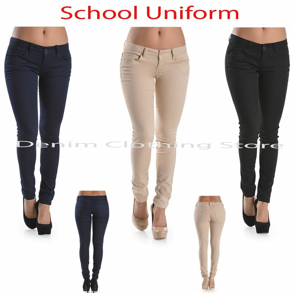 Women Juniors School Uniform Pencil Navy Khaki Cotton Casual Slim ...