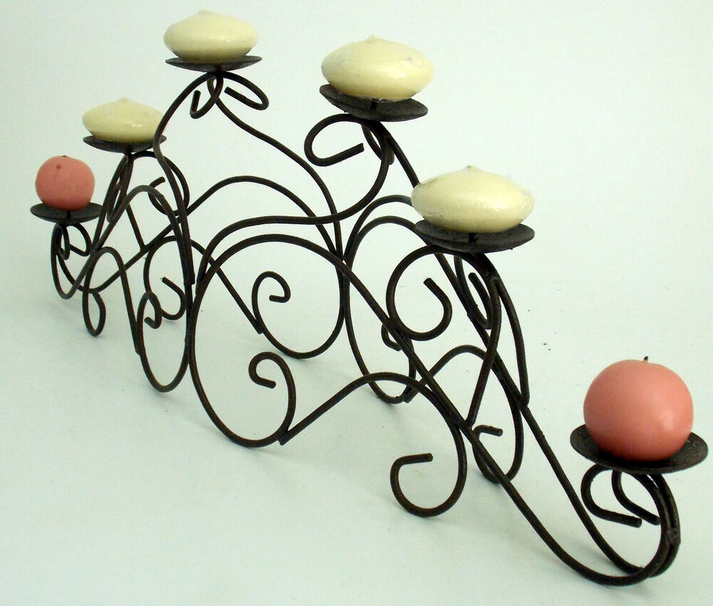 6 Pillar Candle Holder Iron Fireplace Mantle Table Iron Space For Center Piece Ebay
