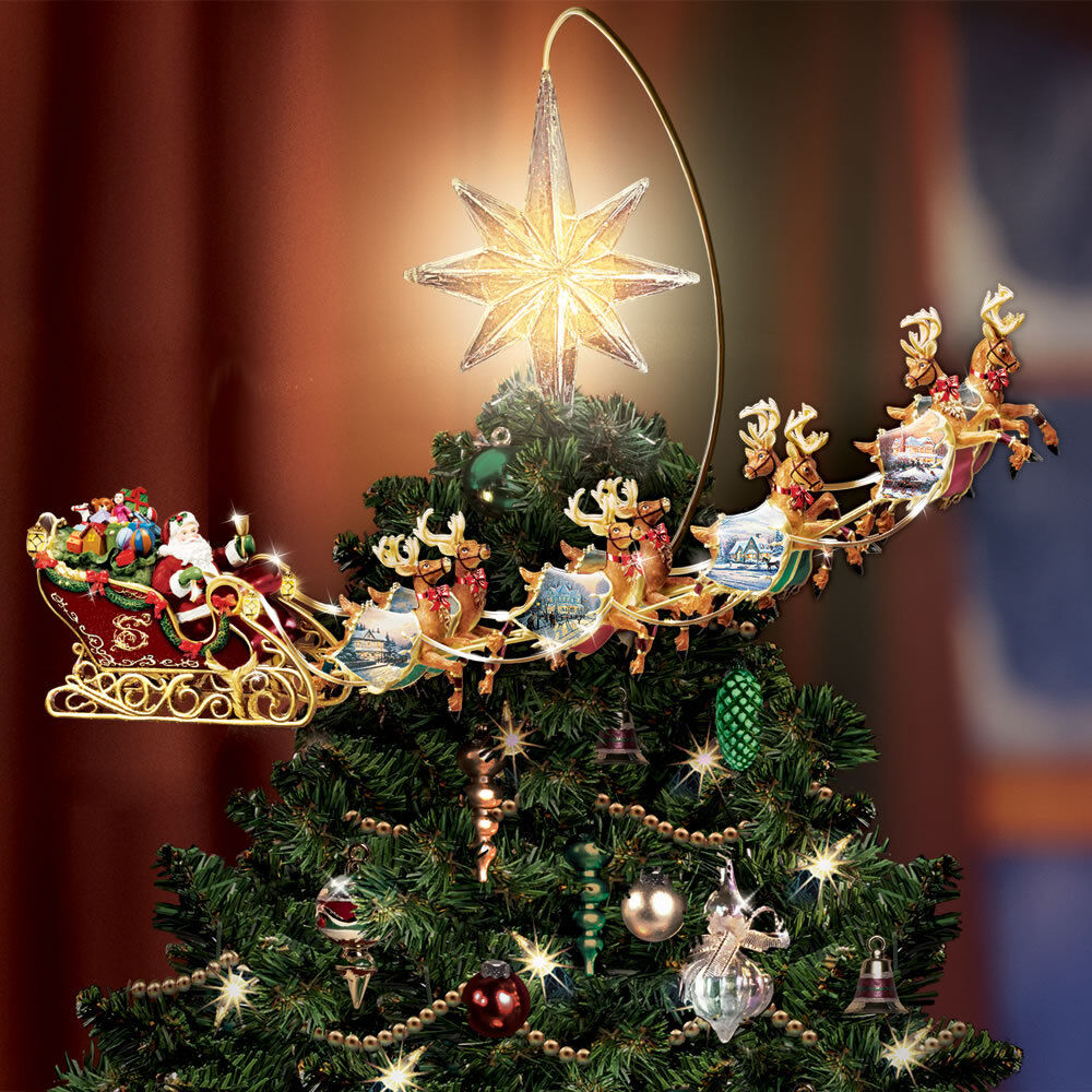 Thomas Kinkade Revolving Christmas Tree Topper Santa ...