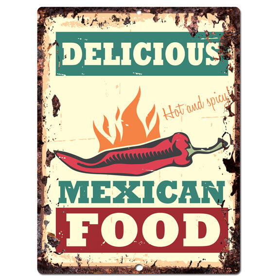 Pp0016 vintage mexican food sign plate beach bar pub cafe for Plaque metal cuisine