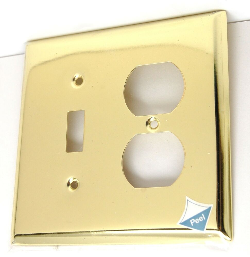 Light Switch Plate Cover: Brainerd Polished Brass Single Toggle Light Switch Duplex