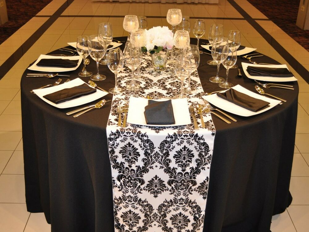 5 flocking damask table runner black white 12 x 108 for 108 table runner