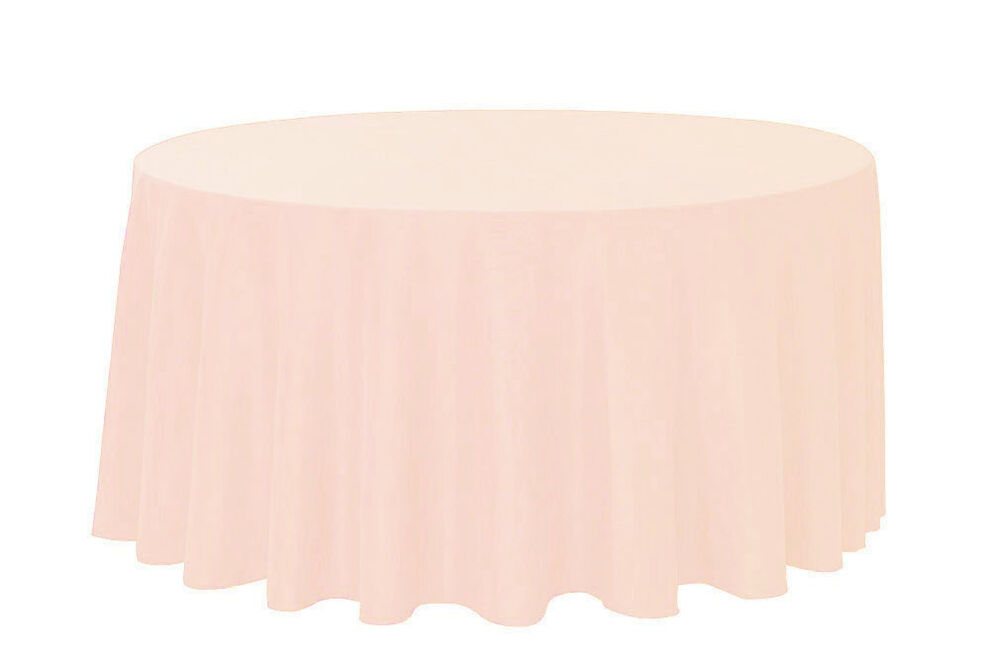 132 inch Round Polyester Tablecloths Blush Peach : eBay