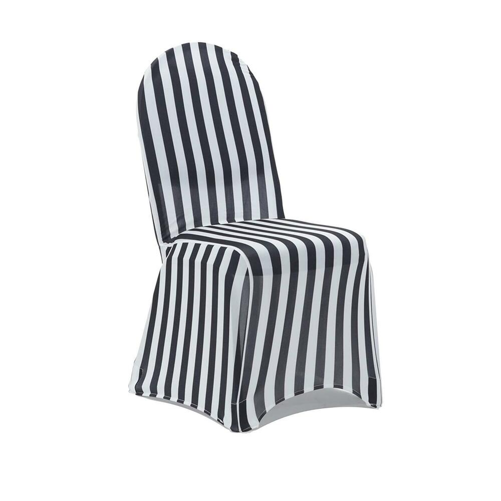Spandex Banquet Chair Covers Black And White Striped Ebay