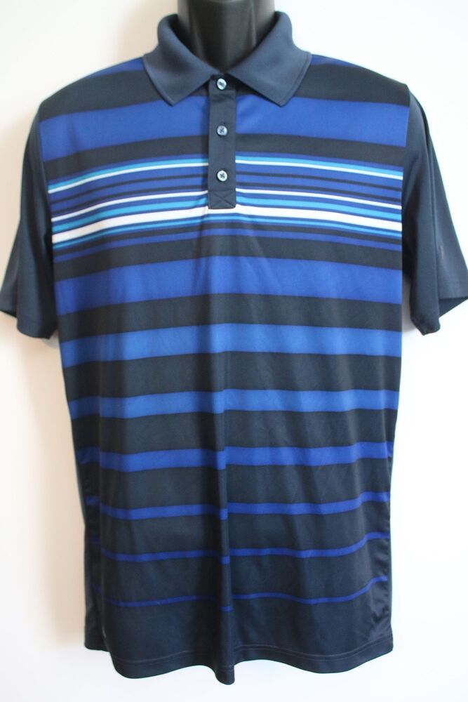 Euc fila sport mens blue striped athletic performance golf for Men s athletic polo shirts