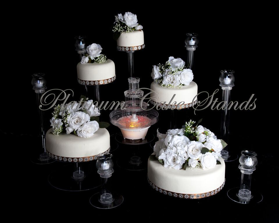 5 tier cascade wedding cake stand stands set 5 tier cascade wedding cake stand w amp 6 votive 10453