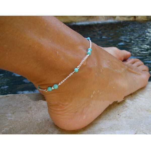 Imitation Turquoise Beads Silver Ankle Bracelet Anklet ...