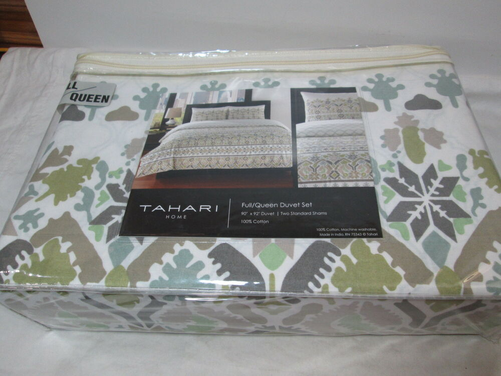 Tahari Home Moroccan Full Queen Duvet Amp Shams Set Green