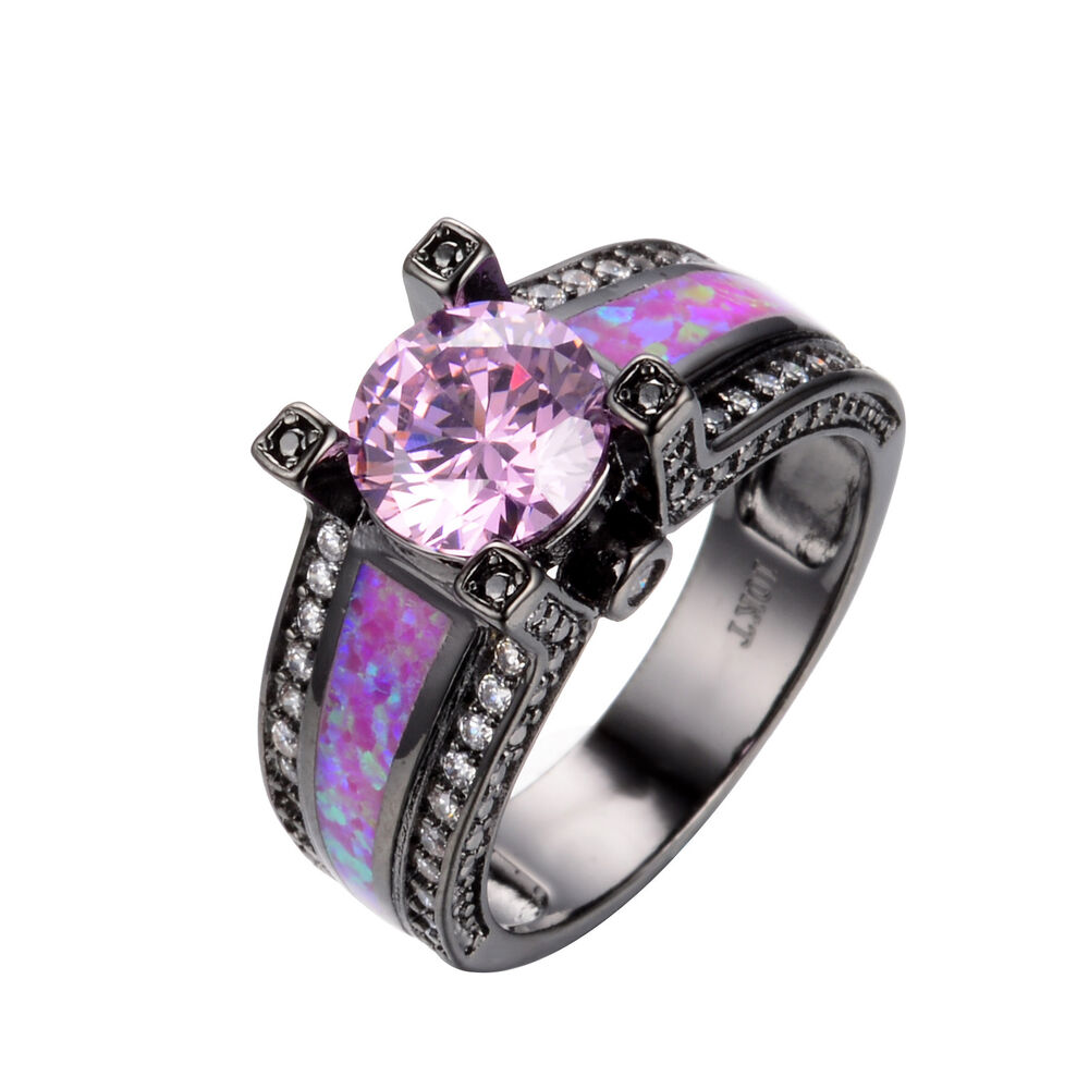 Fire Opal Pink Sapphire CZ Wedding Ring Women s 10KT Black Gold Filled Si