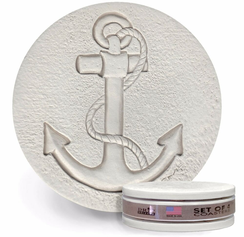Clay drink coasters anchor absorbent drink coasters set of 4 ebay - Drink coasters absorbent ...