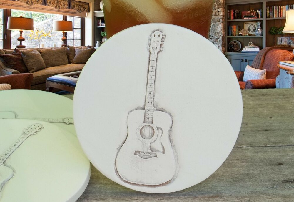 Clay drink coasters guitar absorbent drink coasters set of 4 ebay - Stone absorbent coasters ...
