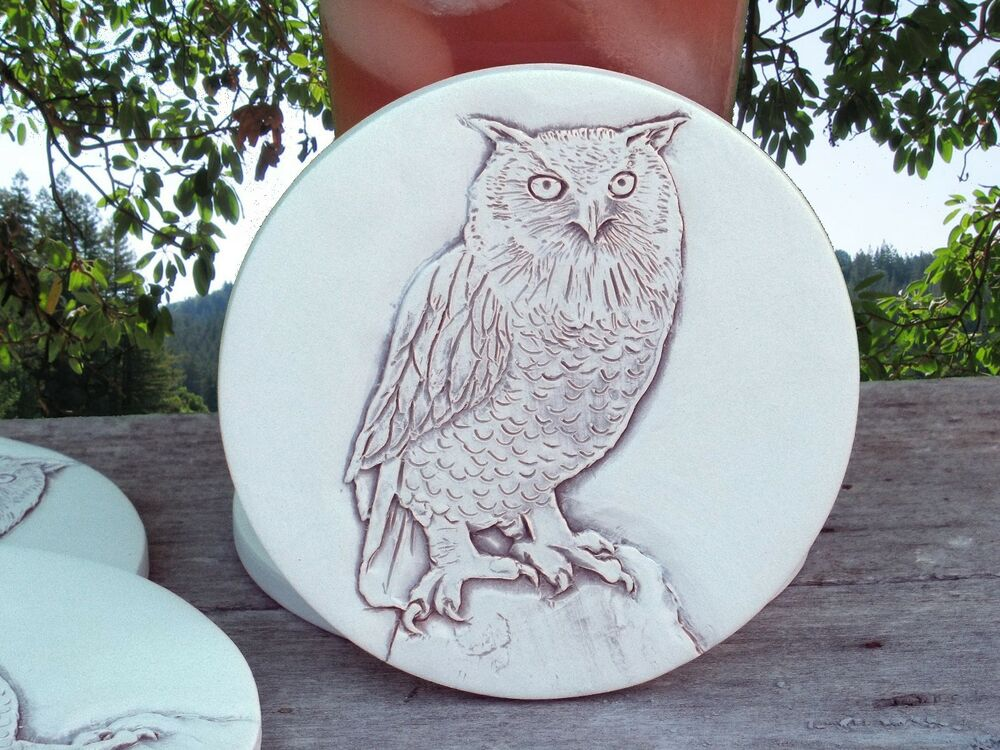 Owl stone tile drink coaster set of 4 most absorbent mccarter coasters ebay - Stone absorbent coasters ...