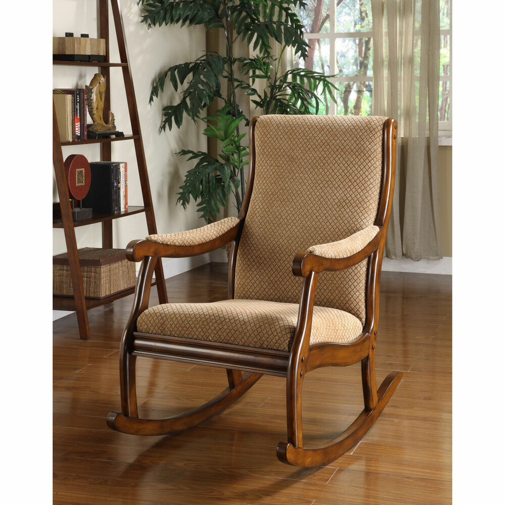 furniture of america antique oak rocking chair seat home home old fashioned new ebay. Black Bedroom Furniture Sets. Home Design Ideas