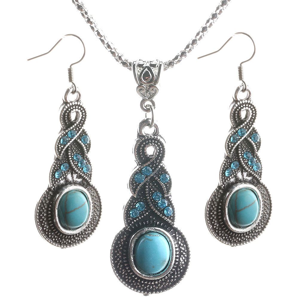 New Women's Turquoise Silver Plated Pendant Bid Necklace ...