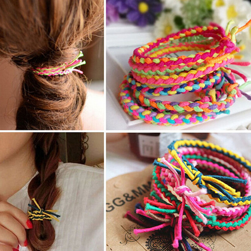Women Girls Colorful Braided Elastic Rubber Hair Ties Band