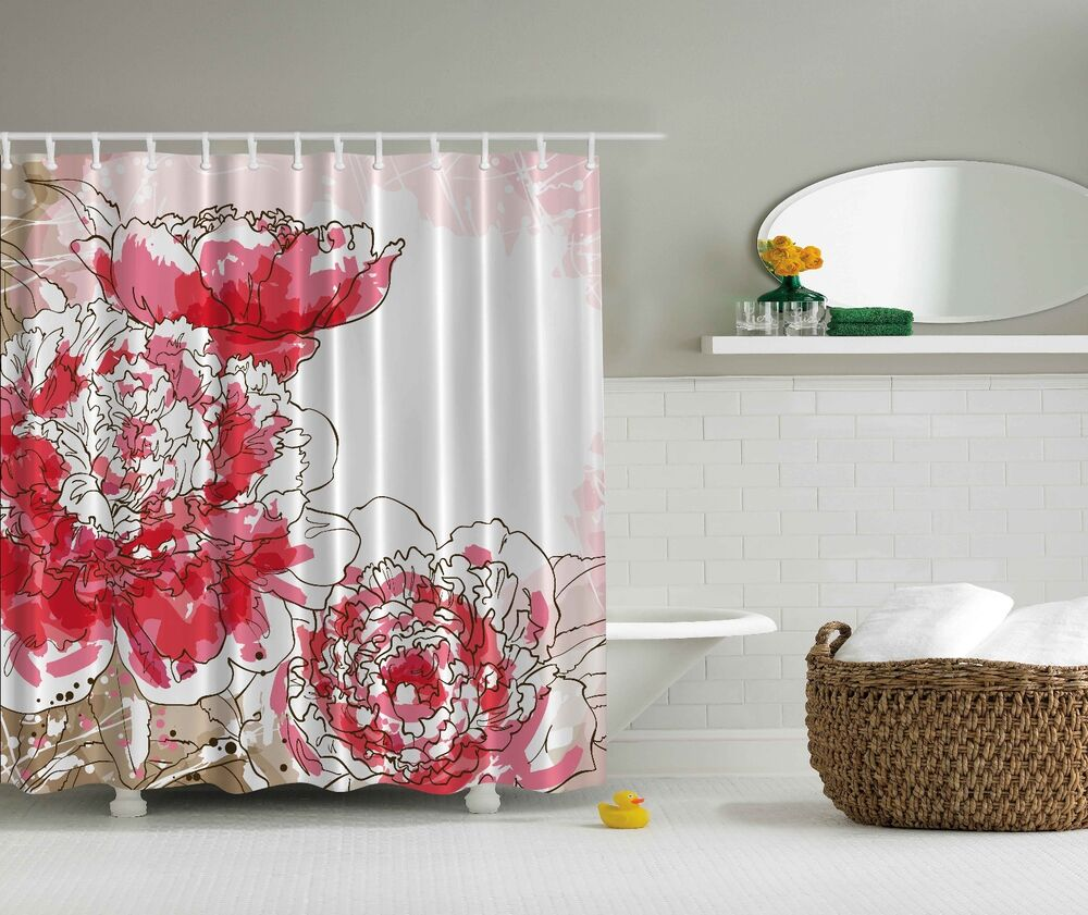 Big Pink Flowers Beige White Floral Fabric Shower Curtain