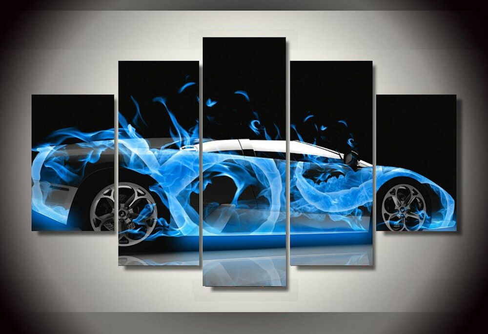 Frame Picture Abstract Hot Blue Sports Super Car Wall