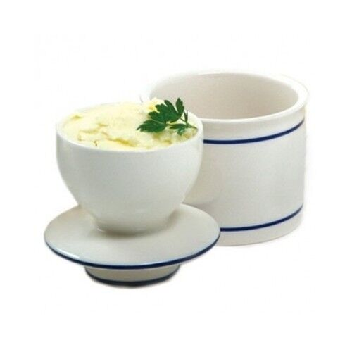 Marble Butter Crock : Butter keeper crock french bell white blue kitchen dish