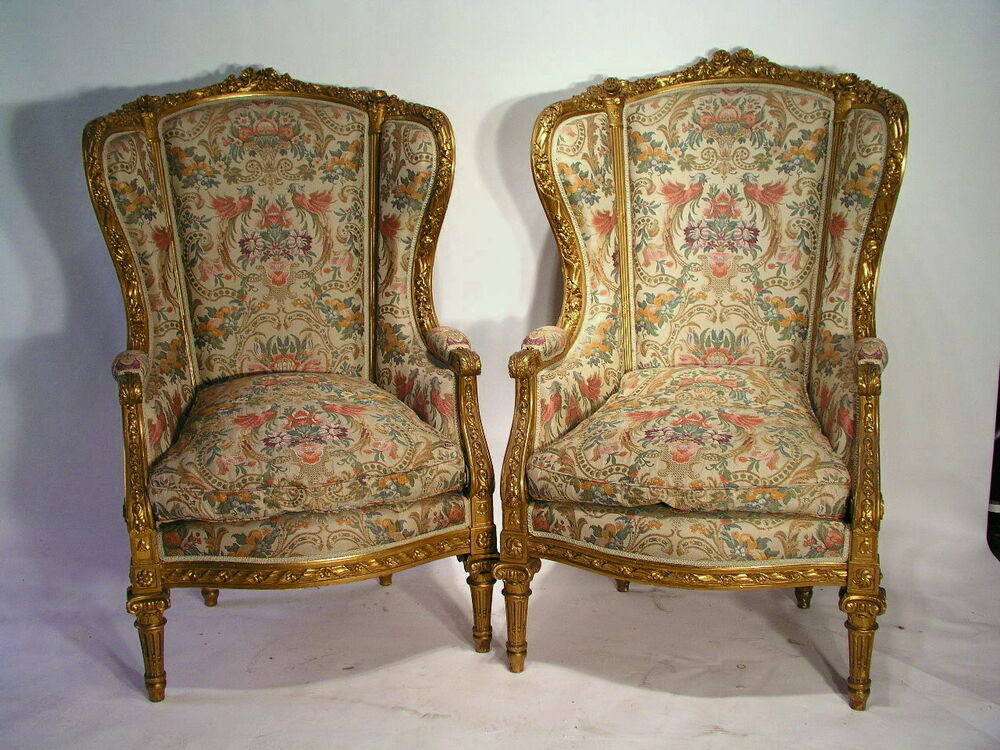 antique pair of louis xvi bergere wing chairs museum quality wgoverment papers ebay. Black Bedroom Furniture Sets. Home Design Ideas