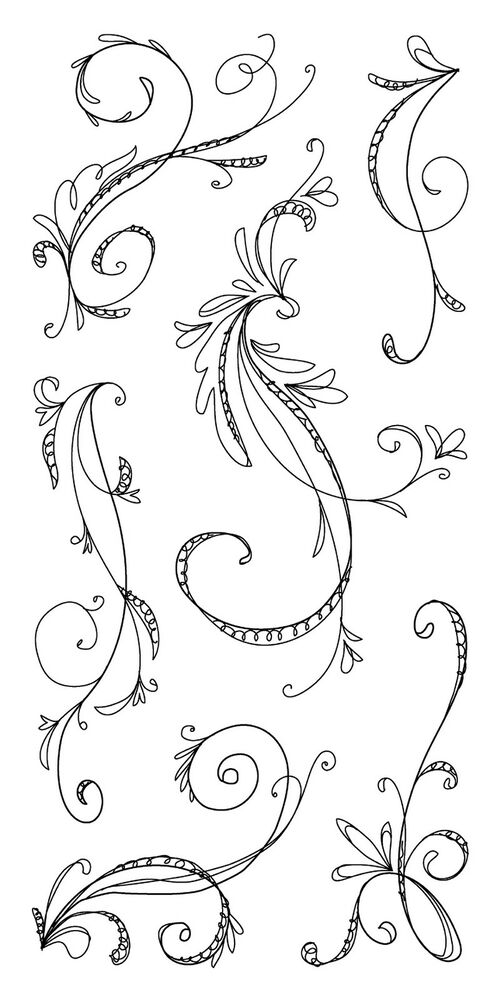 Aninimal Book: Sketchy Flourishes Clear Unmounted Rubber Stamp Set ...