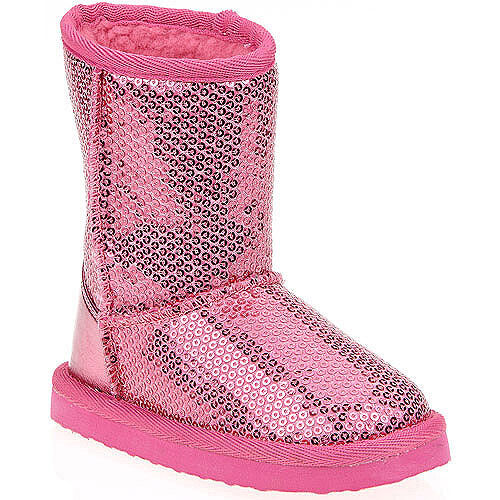 toddler pink sequin lug sole mid calf boot slippers