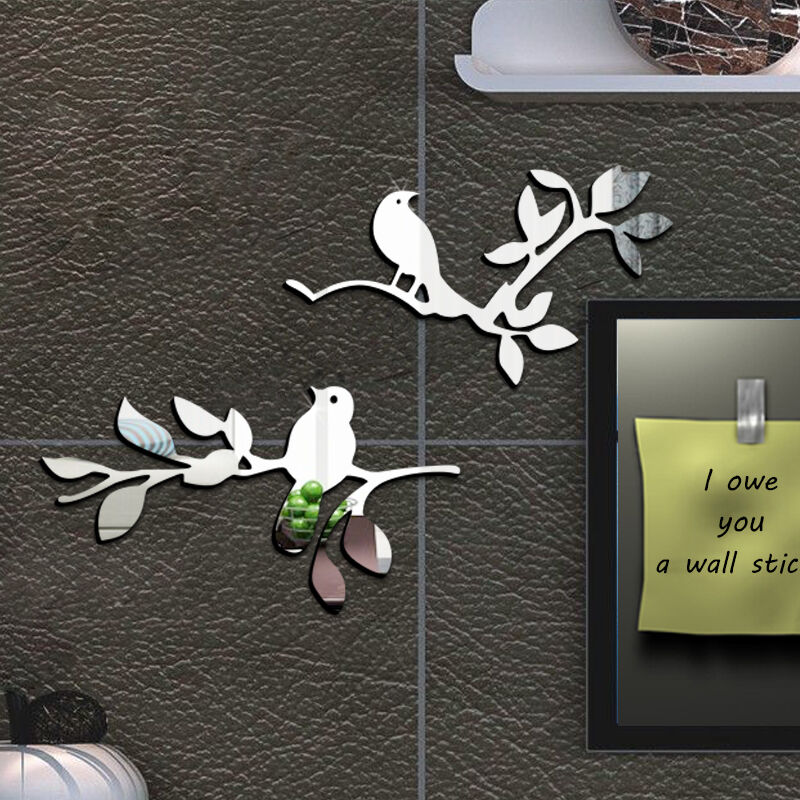 Wall Art Mirror Birds : Birds tree acrylic siler plastic mirror wall art washroom