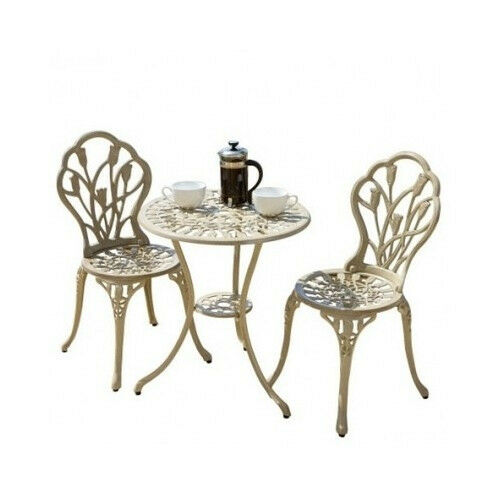 Outdoor Patio Bistro Set Furniture Vintage French Style Table 2 Chairs 3 Piec