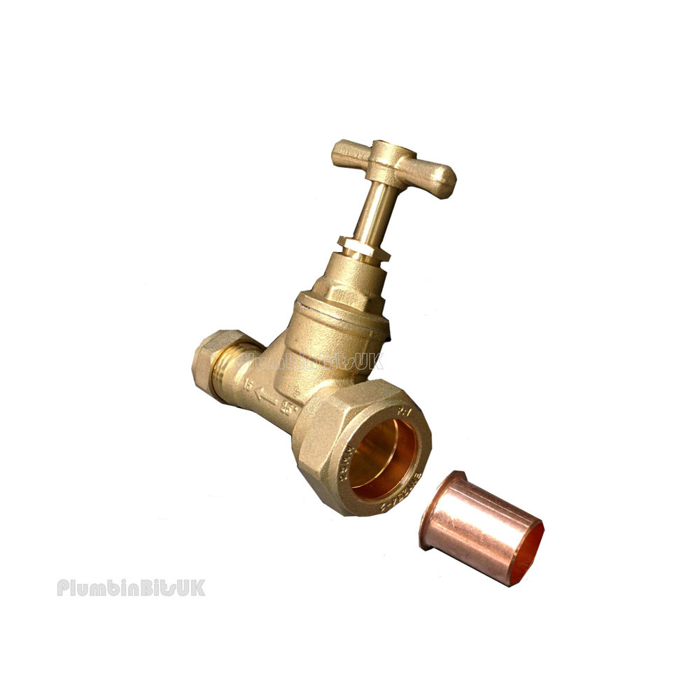 Compression stop tap 25mm blue mdpe to 22mm copper tube for Copper to plastic