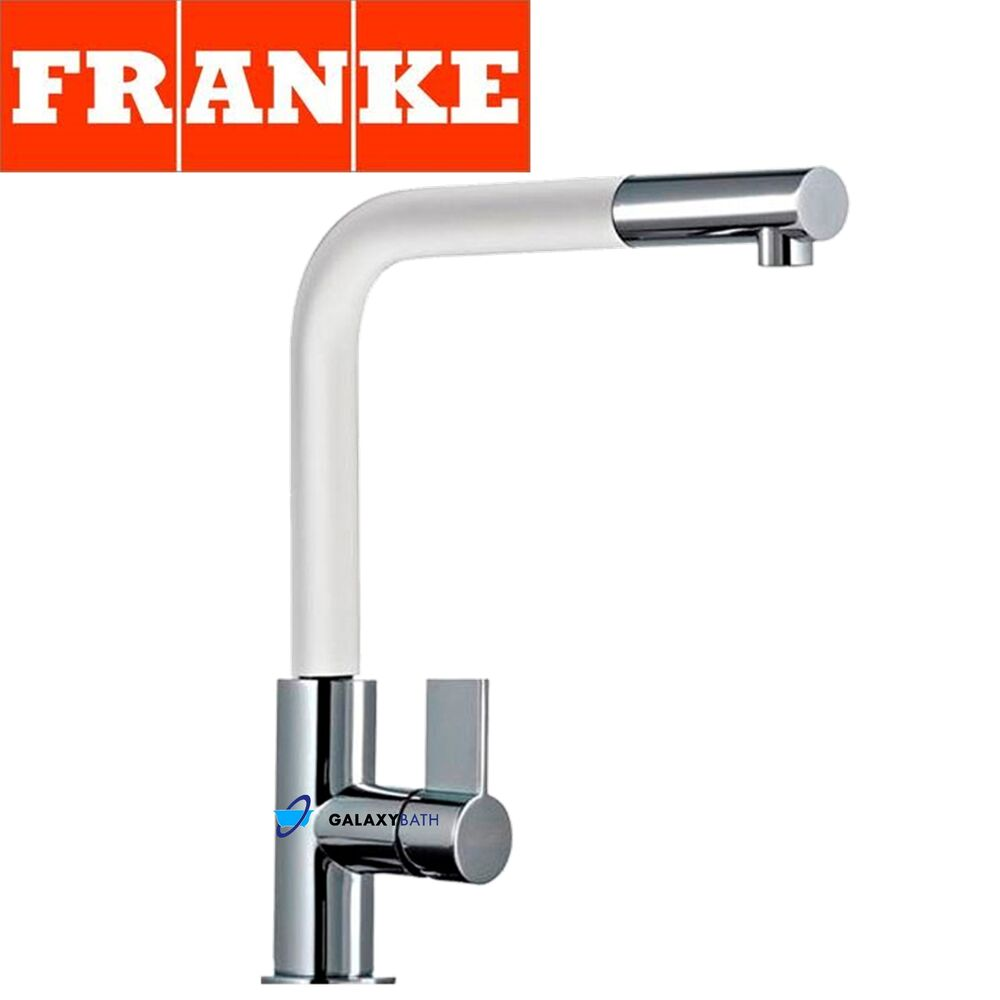 Franke Neptune Chrome White Kitchen Sink Modern Tap Single