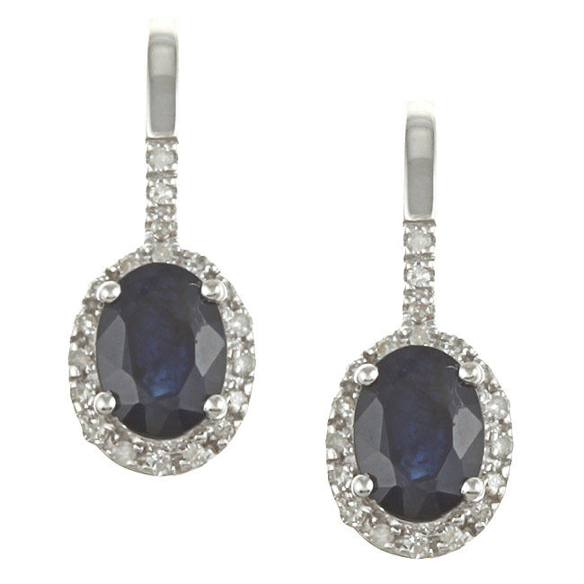 10k white gold genuine blue sapphire and diamond earrings. Black Bedroom Furniture Sets. Home Design Ideas