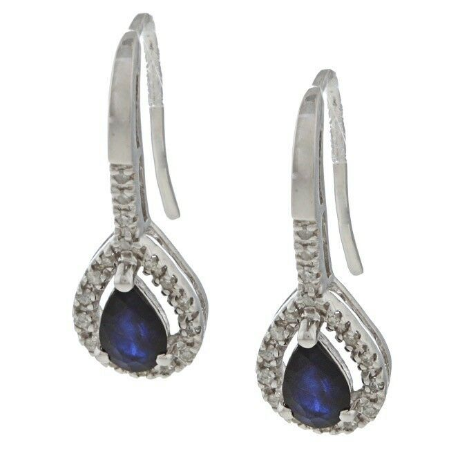 10k white gold genuine sapphire and diamond earrings 1 6. Black Bedroom Furniture Sets. Home Design Ideas