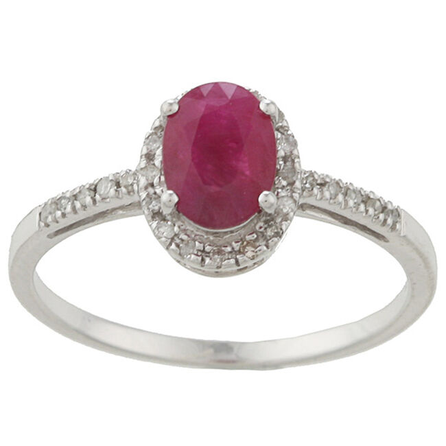 10k white gold genuine ruby and diamond ring 1 8 tdw ebay. Black Bedroom Furniture Sets. Home Design Ideas