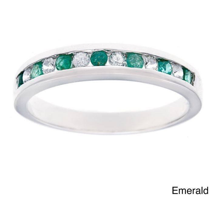 White Gold 1 2ct Genuine Emerald Anniversary Wedding Band