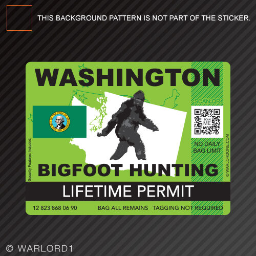 Washington bigfoot hunting permit sticker die cut decal for Lifetime hunting and fishing license tn