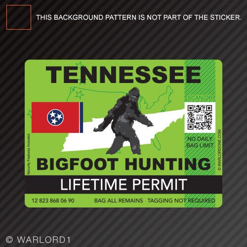 Tennessee bigfoot hunting permit sticker die cut decal for Tn fishing license online