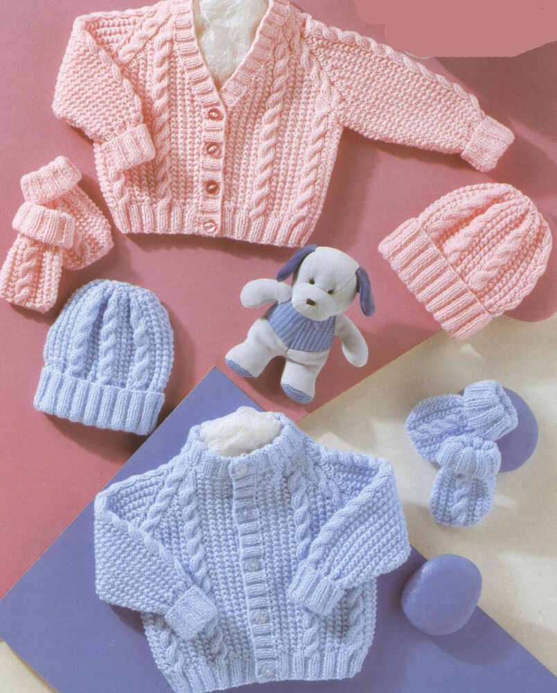 Free Baby Knitting Patterns Dk : Knitting Pattern- Baby Cable cardigans-hats- mitts in DK Wool- fits Prem - 22...
