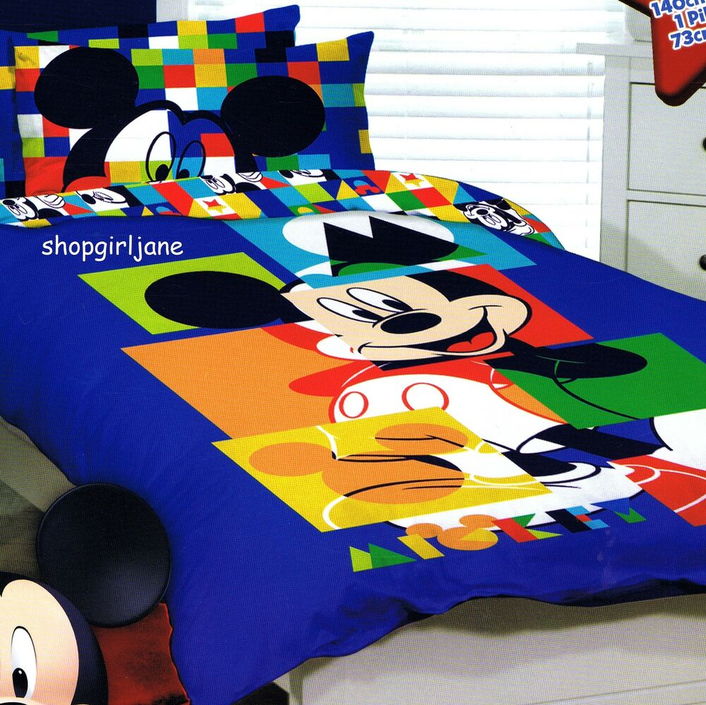 Mickey Mouse Disney Puzzle Single Us Twin Bed Quilt