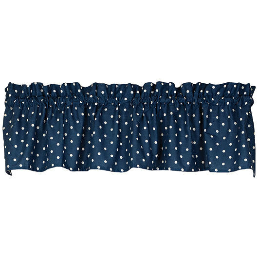 Navy Blue with White Polka Dots Cotton Window Valance | eBay