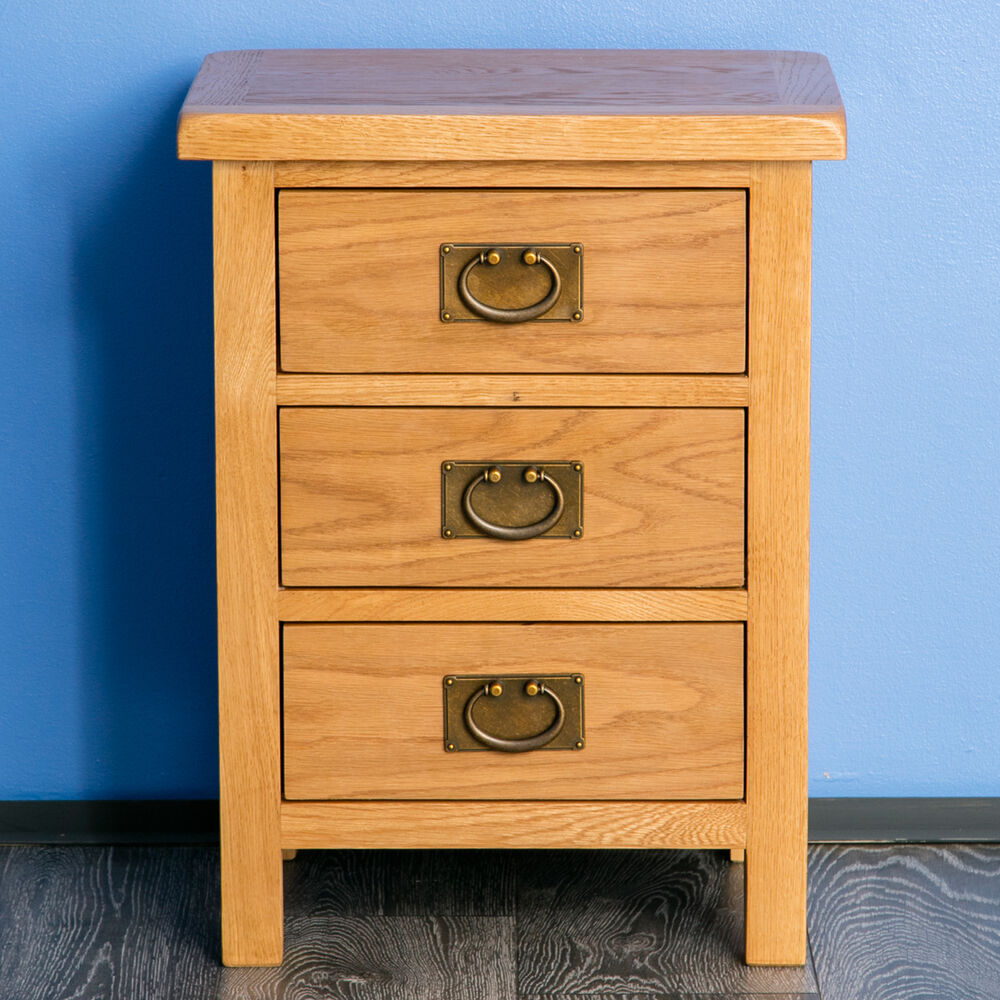 surrey oak bedside table waxed 3 drawer bedside cabinet. Black Bedroom Furniture Sets. Home Design Ideas