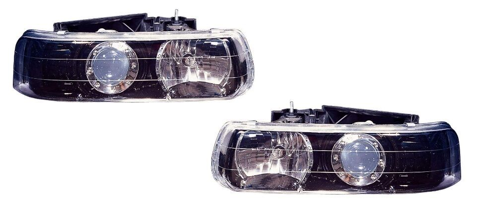 Black Headlight Projector Pair For 1999 2002 Chevy