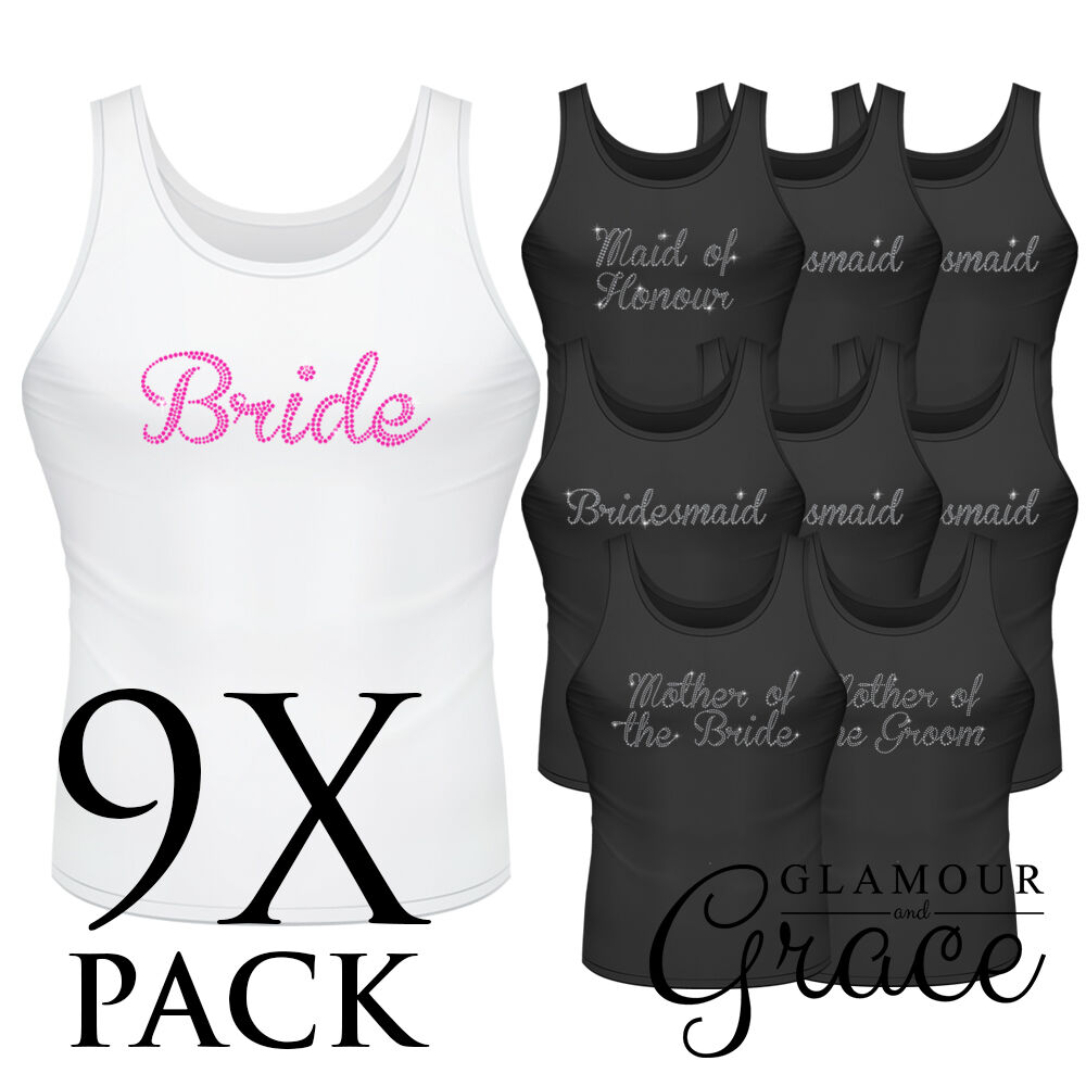 c529d578 Details about 9 PACK Singlet Bride Bridesmaid Bridal Party Hens Night Personalised  Tank Top