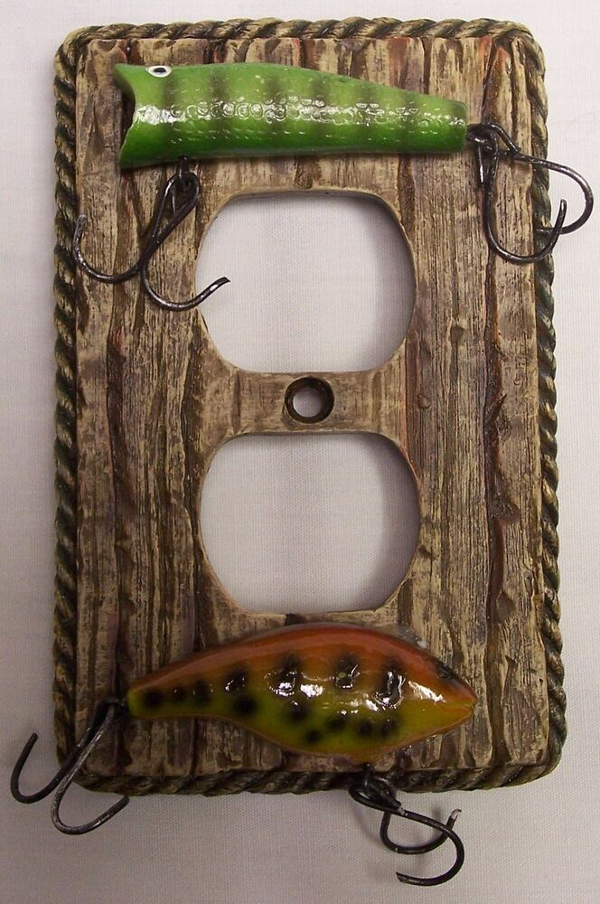 Fishing Lure Outlet Plate Cover Rustic Cabin Home Decor
