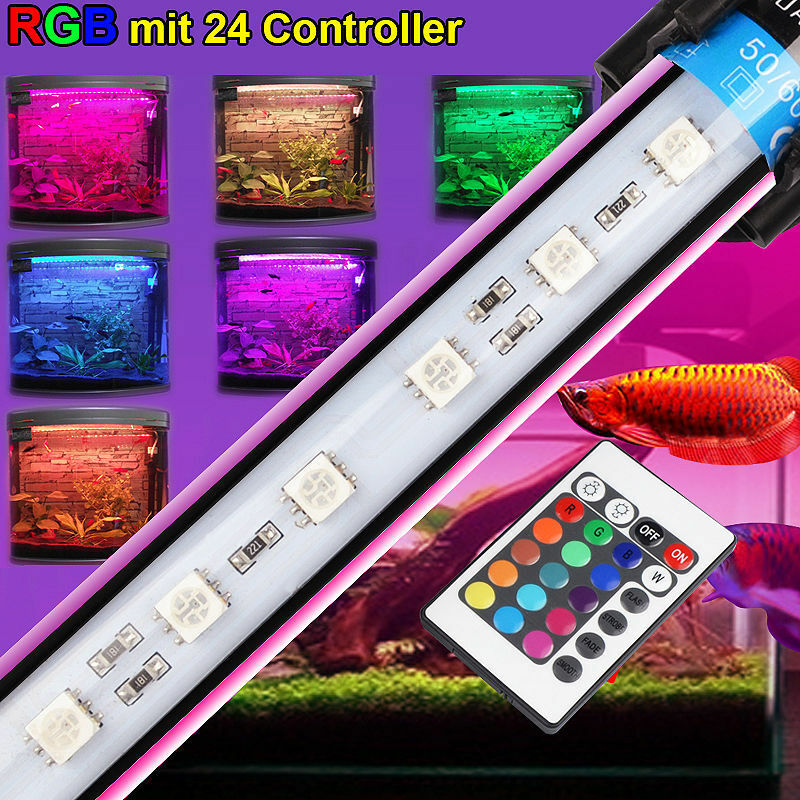aquarium led beleuchtung kaltweiss blau rgb fernbedienung wasserdicht lampe ebay. Black Bedroom Furniture Sets. Home Design Ideas