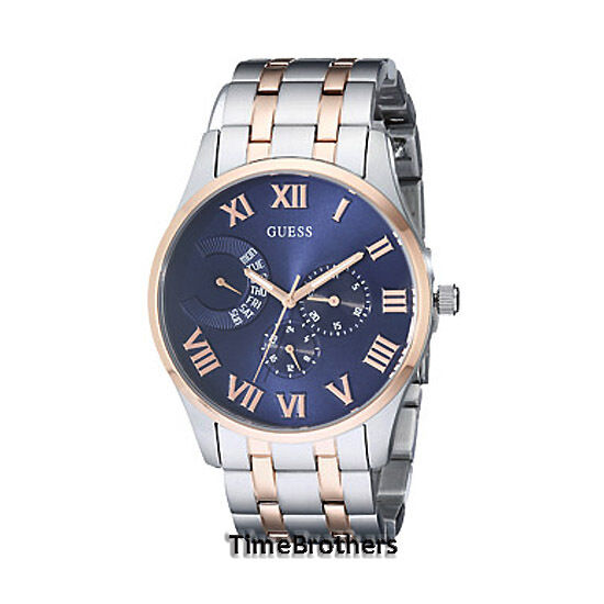 NEW GUESS WATCH for Men * Blue Dial * Two Tone Rose Gold ...
