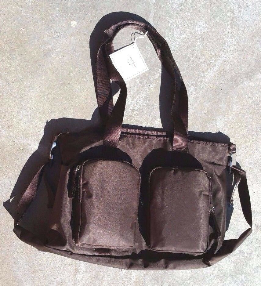 pottery barn kids camden diaper bag tote brown nylon sold out everywhere ebay. Black Bedroom Furniture Sets. Home Design Ideas