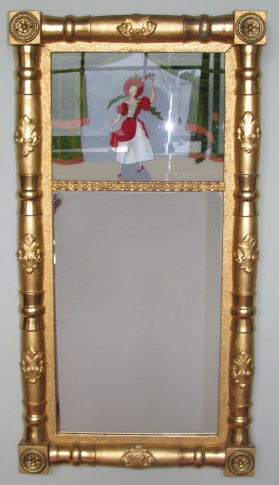 Sheraton Period Reverse Glass Painted Two Part Mirror