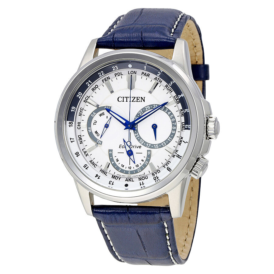 Citizen calendrier eco drive white dial mens watch bu2020 02a ebay for Citizen watches