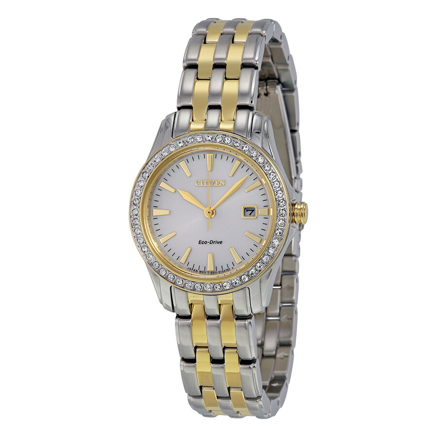 Citizen silhouette crystal silver dial two tone ladies watch ew1908 59a ebay for Crystal watches