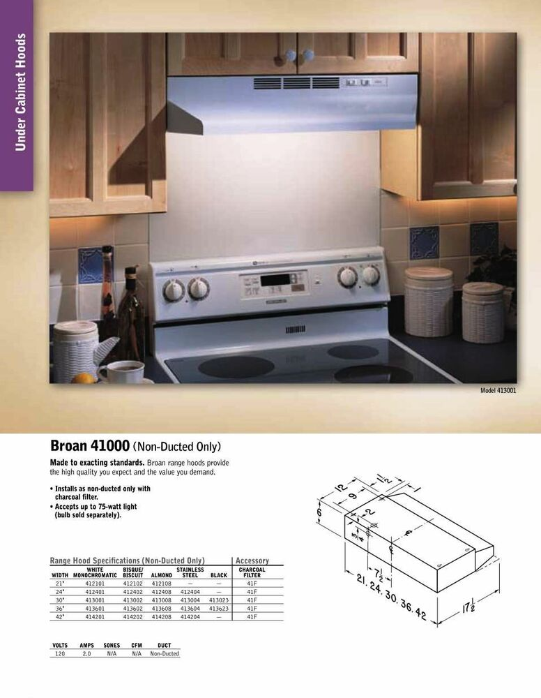 Ductless Vent Hoods For Cooktops ~ New broan inch hood vent non ducted kitchen range